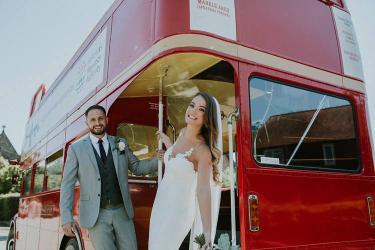 Bride Bridal Pronovias Sleeveless Dress Gown Veil Bouquet Eucalyptus Pink Rose Groom Grey Three Piece Suit Waistcoat Burgundy Tie Transport Red Bus Double Decker Stylish Homemade Country Summer Marquee Wedding Millers of Netley Shropshire http://www.joboultonphotography.com/