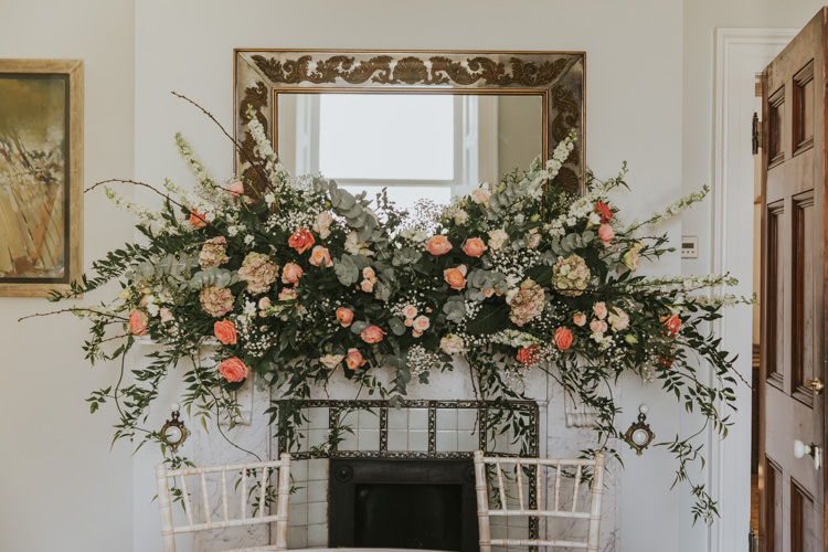 Flowers Peach Greenery Foliage Large Arrangement Rose Alternative Vintage 1950s Knighton House Wedding Dorset http://www.paulunderhill.com/