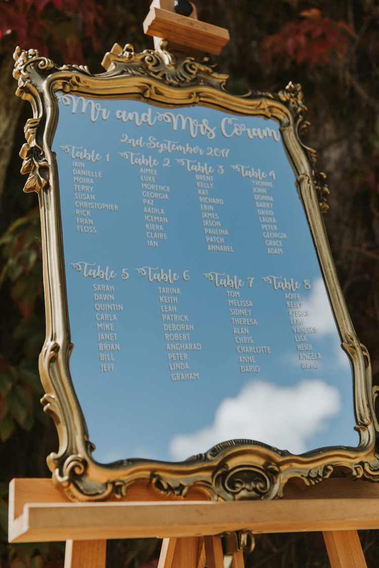Frame Mirror Calligraphy Lettering Seating Plan Table Chart Alternative Vintage 1950s Knighton House Wedding Dorset http://www.paulunderhill.com/