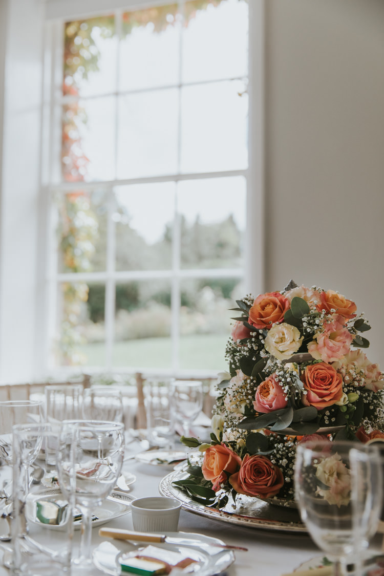 Centrepiece Silver Tray Roses Coral Alternative Vintage 1950s Knighton House Wedding Dorset http://www.paulunderhill.com/