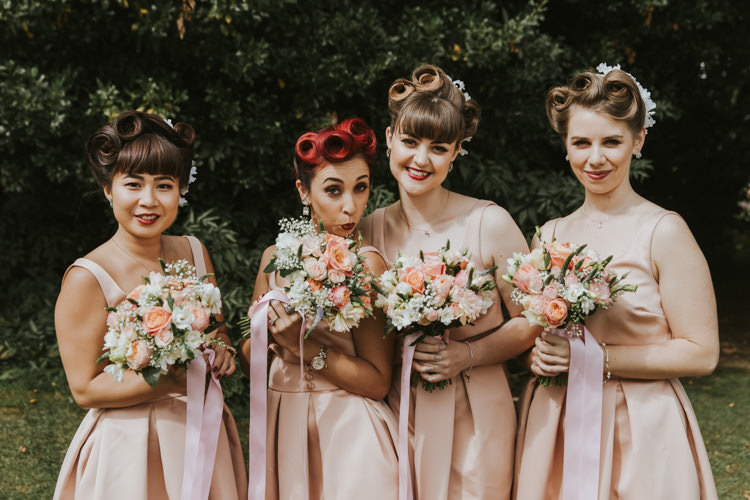 Bridesmaids Dresses Prom Hair Style Bouquets Ribbons Pink Alternative Vintage 1950s Knighton House Wedding Dorset http://www.paulunderhill.com/
