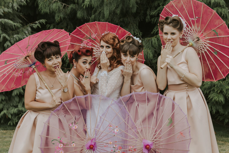 Bridesmaids Dresses Prom Hair Style Bouquets Ribbons Pink Parasols Alternative Vintage 1950s Knighton House Wedding Dorset http://www.paulunderhill.com/