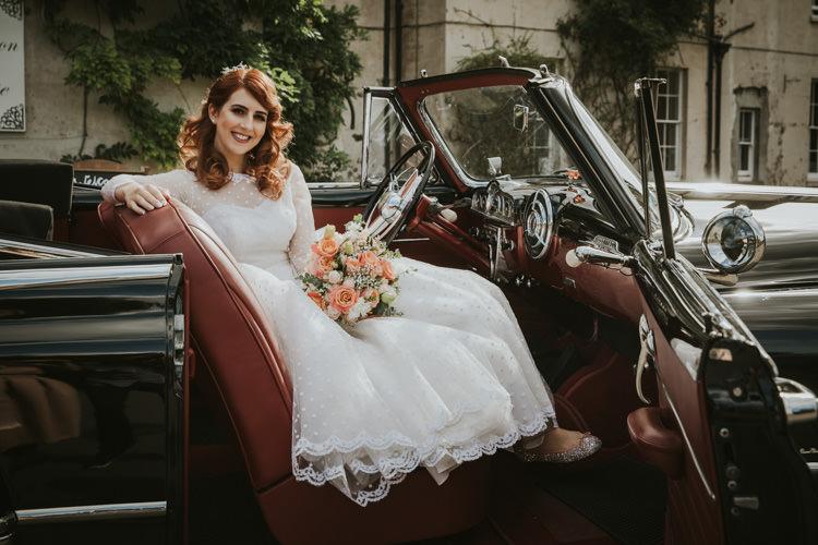 Bride Bridal Dress Gown Polka Dot Tulle Veil Sleeves Alternative Vintage 1950s Knighton House Wedding Dorset http://www.paulunderhill.com/