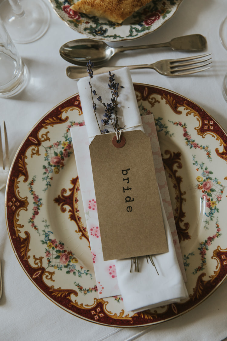 Place Setting Luggage Tag Lavender China Alternative Vintage 1950s Knighton House Wedding Dorset http://www.paulunderhill.com/