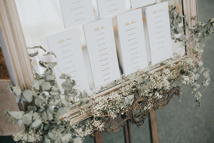 Table Plan Mirror Seating Chart Gypsophila Vintage Easel Stylish Homemade Country Summer Marquee Wedding Millers of Netley Shropshire http://www.joboultonphotography.com/
