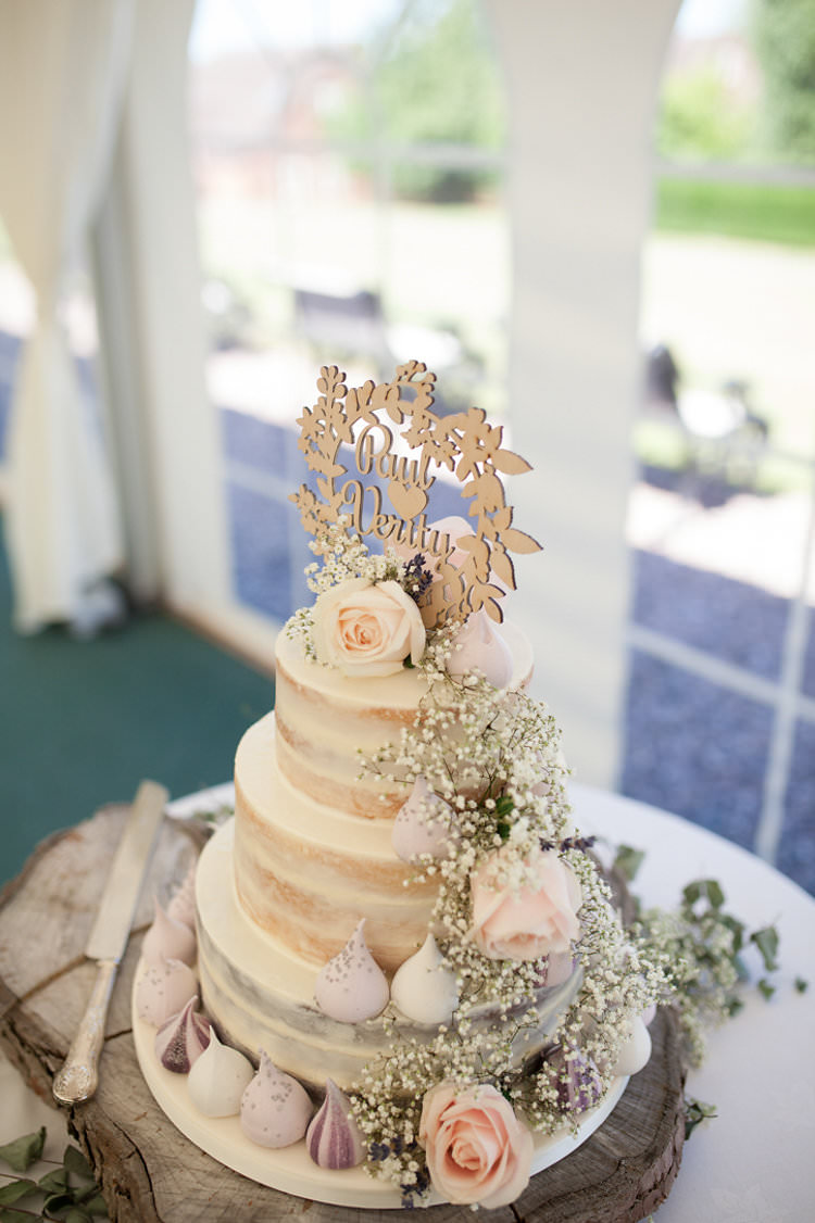 Cake Wood Slice Wooden Laser Cut Topper Rose Pink Gypsophila Semi Naked Buttercream Meringue Kiss Stylish Homemade Country Summer Marquee Wedding Millers of Netley Shropshire http://www.joboultonphotography.com/