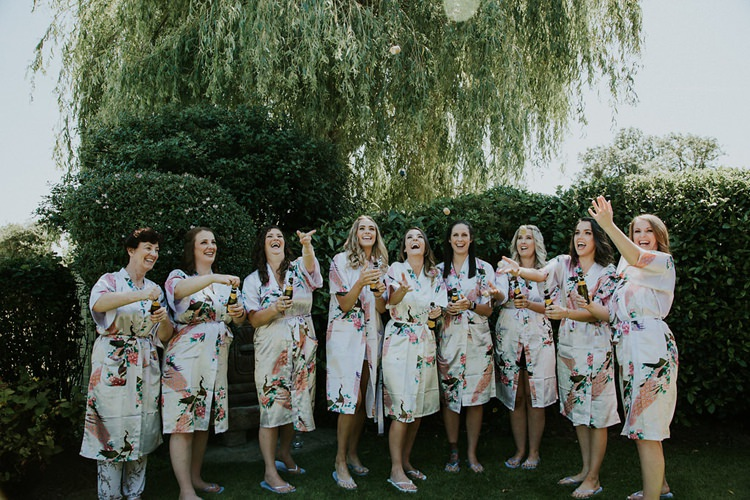 Bridesmaids Bride Matching Floral Dressing Gown Robes Stylish Homemade Country Summer Marquee Wedding Millers of Netley Shropshire http://www.joboultonphotography.com/