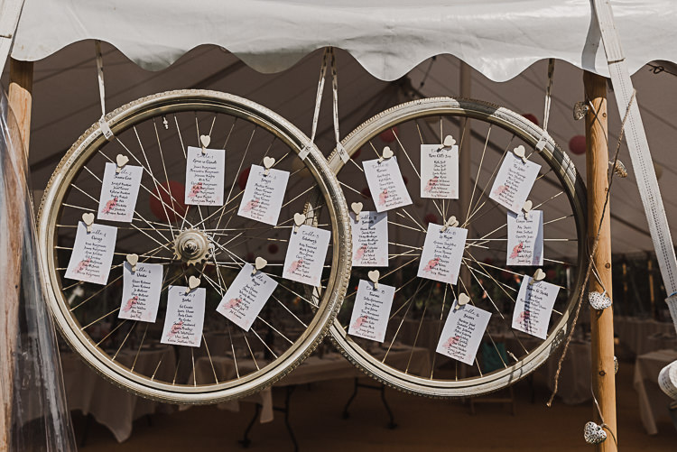Bike Bicycle Tyres Table Plan Pegs Magical Marquee Summer Alveston Pastures Farm Wedding https://willpatrickweddings.com/