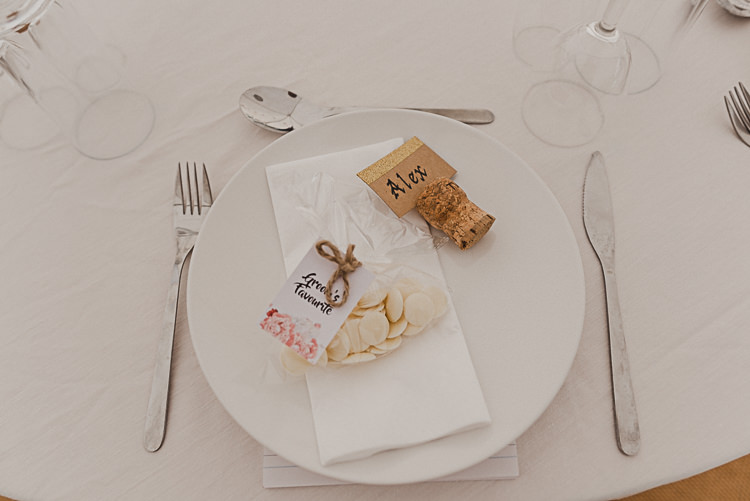 Table Setting Champagne Cork Place Card Favours Groom's Favourite Magical Marquee Summer Alveston Pastures Farm Wedding https://willpatrickweddings.com/