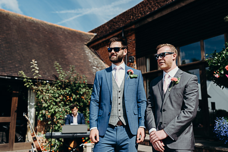 Groom Style Blue Suit Grey Waistcoat Three Piece Sunglasses Groomsman Magical Marquee Summer Alveston Pastures Farm Wedding https://willpatrickweddings.com/
