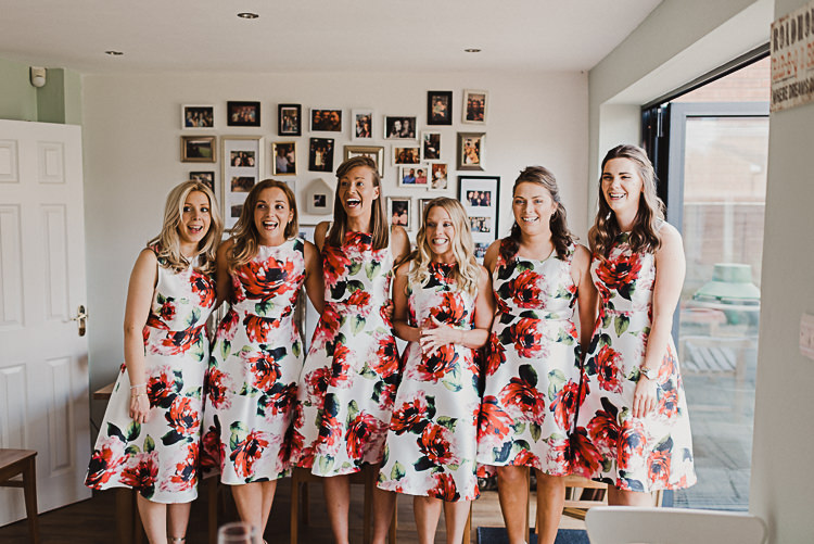 Bridesmaids Floral Flowers Pink Knee Length Dress Magical Marquee Summer Alveston Pastures Farm Wedding https://willpatrickweddings.com/