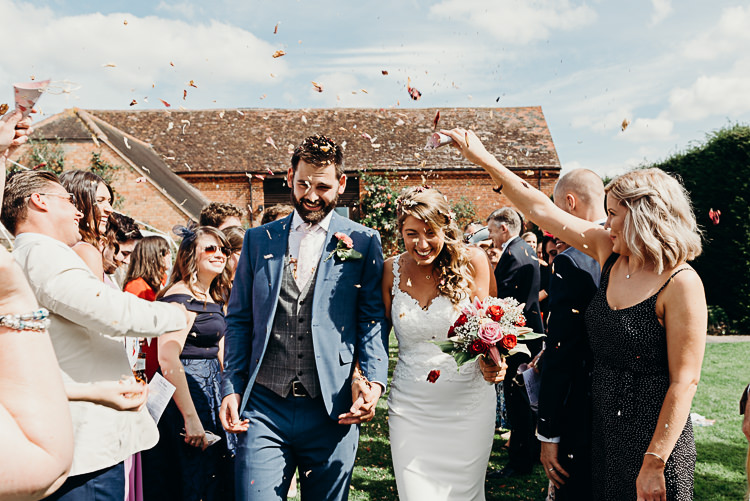 Bride Bridal Sleeveless Backless Dress V Neck Blue Suit Groom Pink Tie Grey Waistcoat Three Piece Confetti Magical Marquee Summer Alveston Pastures Farm Wedding https://willpatrickweddings.com/