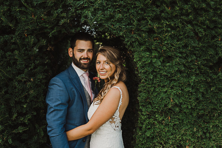 Bride Bridal Sleeveless Backless Dress V Neck Blue Suit Groom Pink Tie Grey Waistcoat Three Piece Magical Marquee Summer Alveston Pastures Farm Wedding https://willpatrickweddings.com/