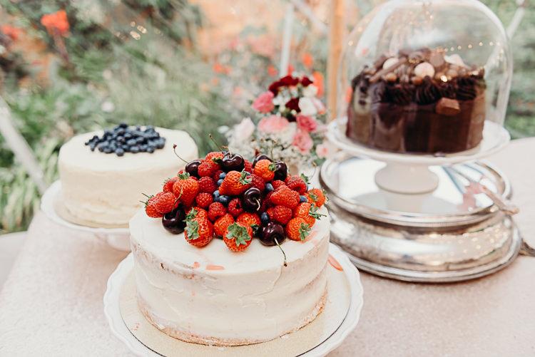 Cake Table Fresh Fruit Cloche Buttercream Magical Marquee Summer Alveston Pastures Farm Wedding https://willpatrickweddings.com/