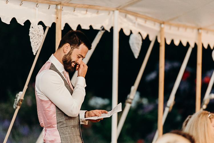 Speech Groom Pink Tie Grey Waistcoat Magical Marquee Summer Alveston Pastures Farm Wedding https://willpatrickweddings.com/
