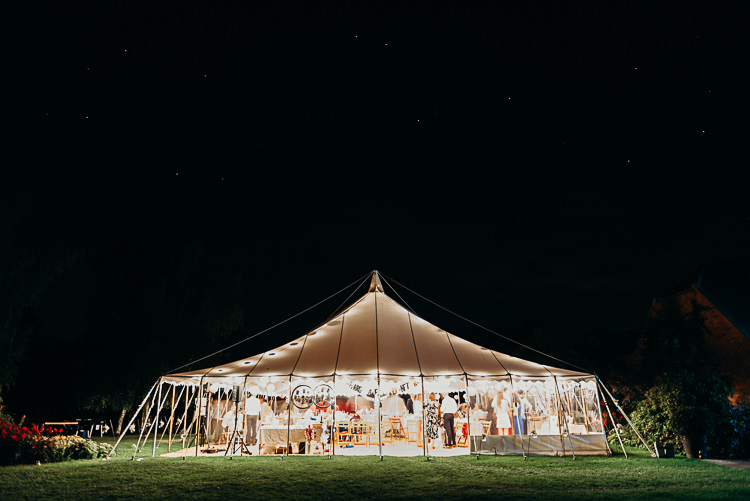 Night Time Lit Fairy Lights Pole Tent Magical Marquee Summer Alveston Pastures Farm Wedding https://willpatrickweddings.com/
