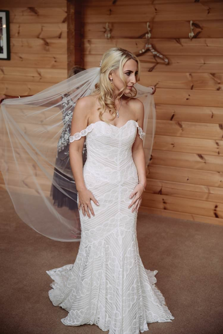 Watters Off Shoulder Bardot Dress Lace Train Fishtail Gown Bride Bridal Greenery White Contemporary Wedding Styal Lodge Cheshire http://hayleybaxterphotography.com/