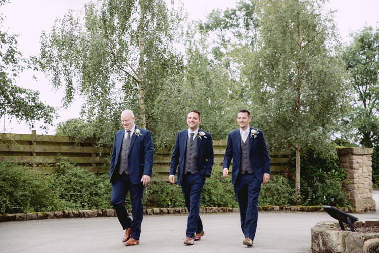 Groom Groomsmen Suits Navy Waistcoat Grey Tan Shoes Greenery White Contemporary Wedding Styal Lodge Cheshire http://hayleybaxterphotography.com/