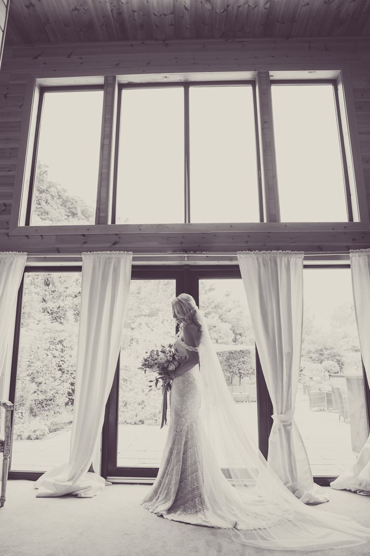 Watters Off Shoulder Bardot Dress Lace Train Fishtail Gown Bride Bridal Veil Greenery White Contemporary Wedding Styal Lodge Cheshire http://hayleybaxterphotography.com/