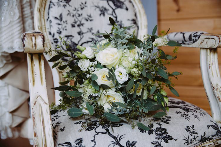 Bouquet Bride Bridal Foliage Ribbon Rose Fresia Gypsophila Greenery White Contemporary Wedding Styal Lodge Cheshire http://hayleybaxterphotography.com/
