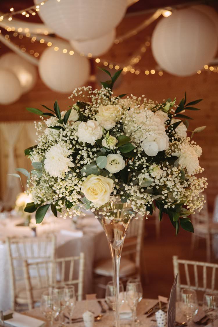 Flowers Arrangement Tall Table Foliage Ribbon Rose Fresia Gypsophila Greenery White Contemporary Wedding Styal Lodge Cheshire http://hayleybaxterphotography.com/