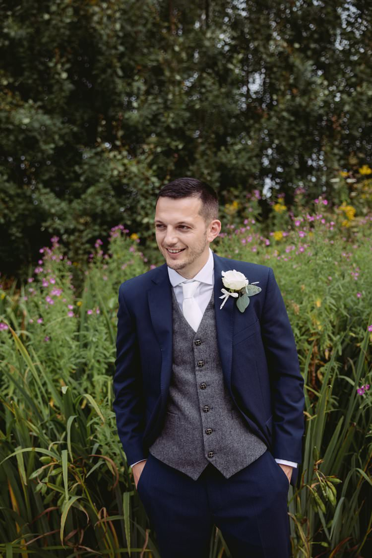 Groom Suit Navy Grey Waistcoat Tie Buttonhole Greenery White Contemporary Wedding Styal Lodge Cheshire http://hayleybaxterphotography.com/