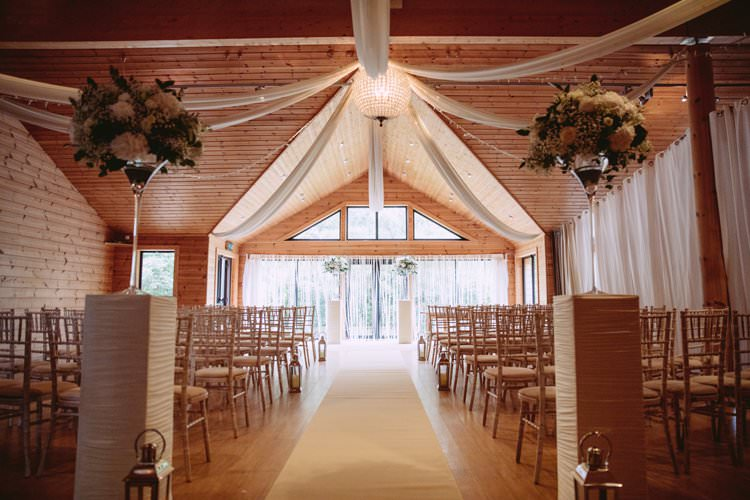 Fairy Lights Flowers Drapes Ceremony Room Greenery White Contemporary Wedding Styal Lodge Cheshire http://hayleybaxterphotography.com/