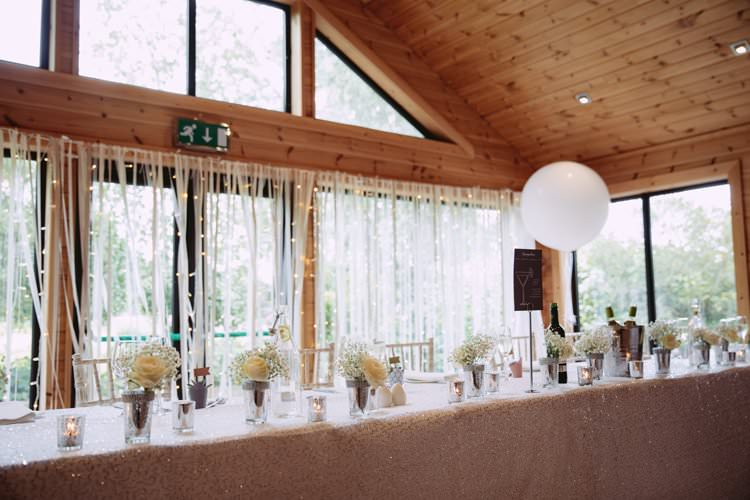 Top Table Ribbon Backdrop Sequin Cloth Balloons Flowers Greenery White Contemporary Wedding Styal Lodge Cheshire http://hayleybaxterphotography.com/