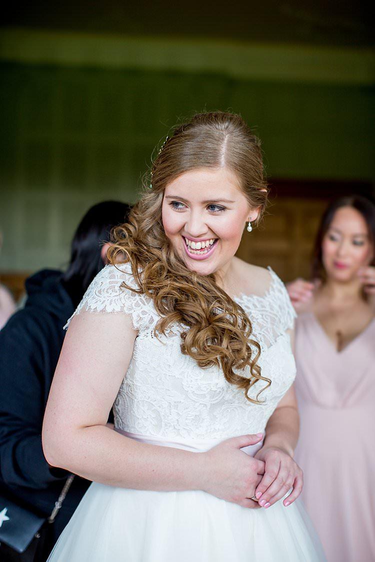 Long Hair Bride Bridal Curls Waves One Side Rustic Autumn Blush Pink Gold Wedding Narborough Hall Gardens Norfolk http://katherineashdown.co.uk/