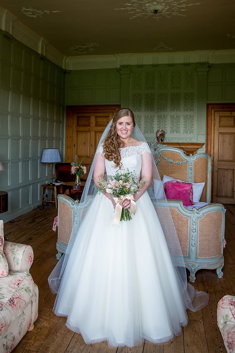 Lace Dress Gown Sleeves Off Shoulder Button Bow Back Bride Bridal Veil Rustic Autumn Blush Pink Gold Wedding Narborough Hall Gardens Norfolk http://katherineashdown.co.uk/