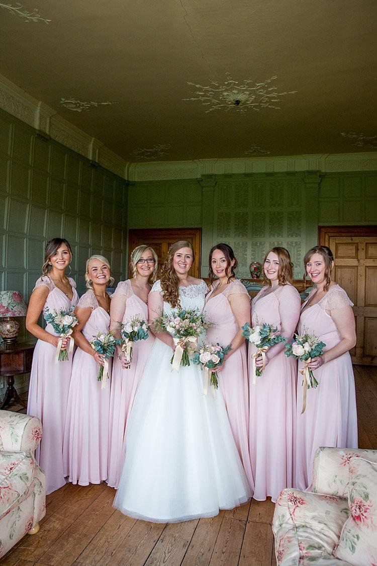 Long Maxi Bridesmaid Dresses Rustic Autumn Blush Pink Gold Wedding Narborough Hall Gardens Norfolk http://katherineashdown.co.uk/