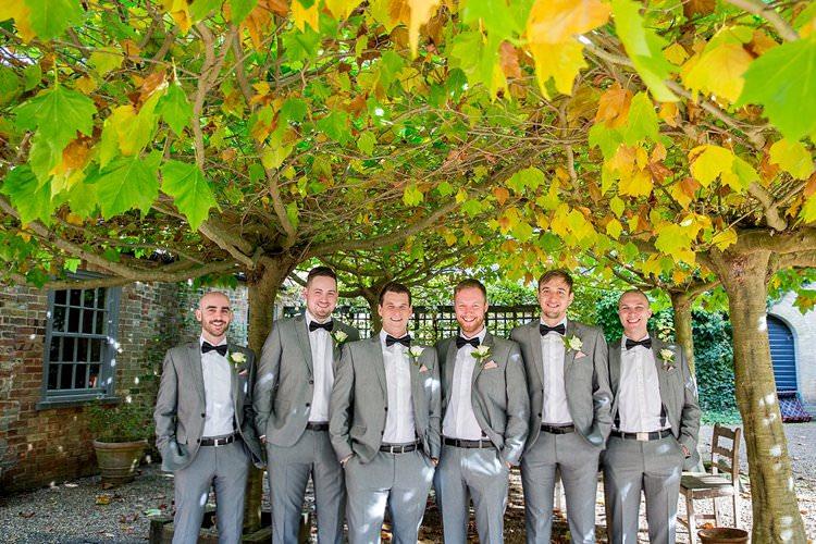 Groom Groomsmen Groomsman Suits Bow Tie Braces Grey Rustic Autumn Blush Pink Gold Wedding Narborough Hall Gardens Norfolk http://katherineashdown.co.uk/