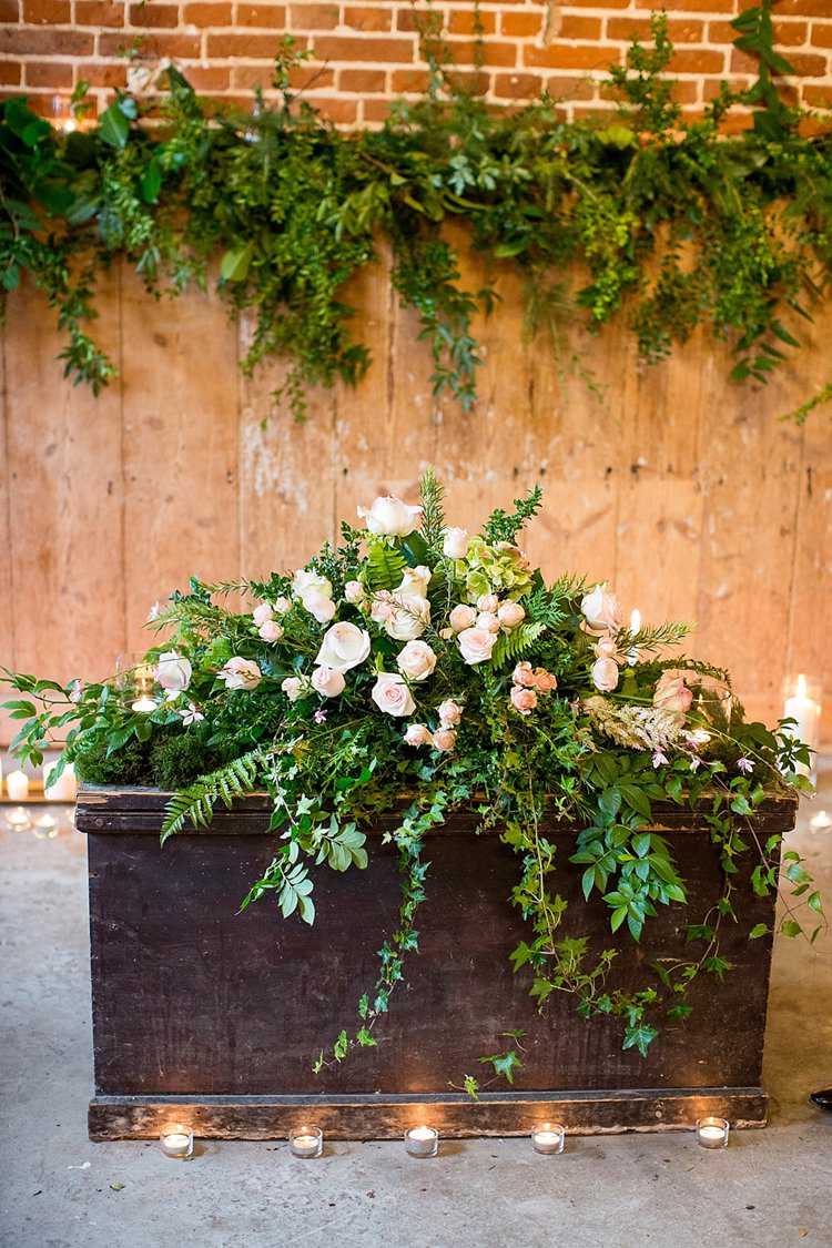 Flowers Greenery Candles Arrangement Rose Crate Wooden Box Ceremony Rustic Autumn Blush Pink Gold Wedding Narborough Hall Gardens Norfolk http://katherineashdown.co.uk/