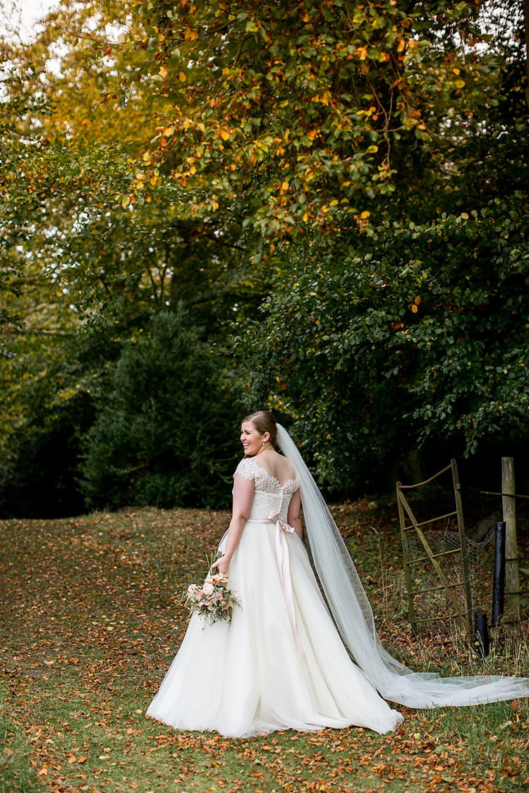 Lace Dress Gown Sleeves Off Shoulder Button Bow Back Bride Bridal Rustic Autumn Blush Pink Gold Wedding Narborough Hall Gardens Norfolk http://katherineashdown.co.uk/