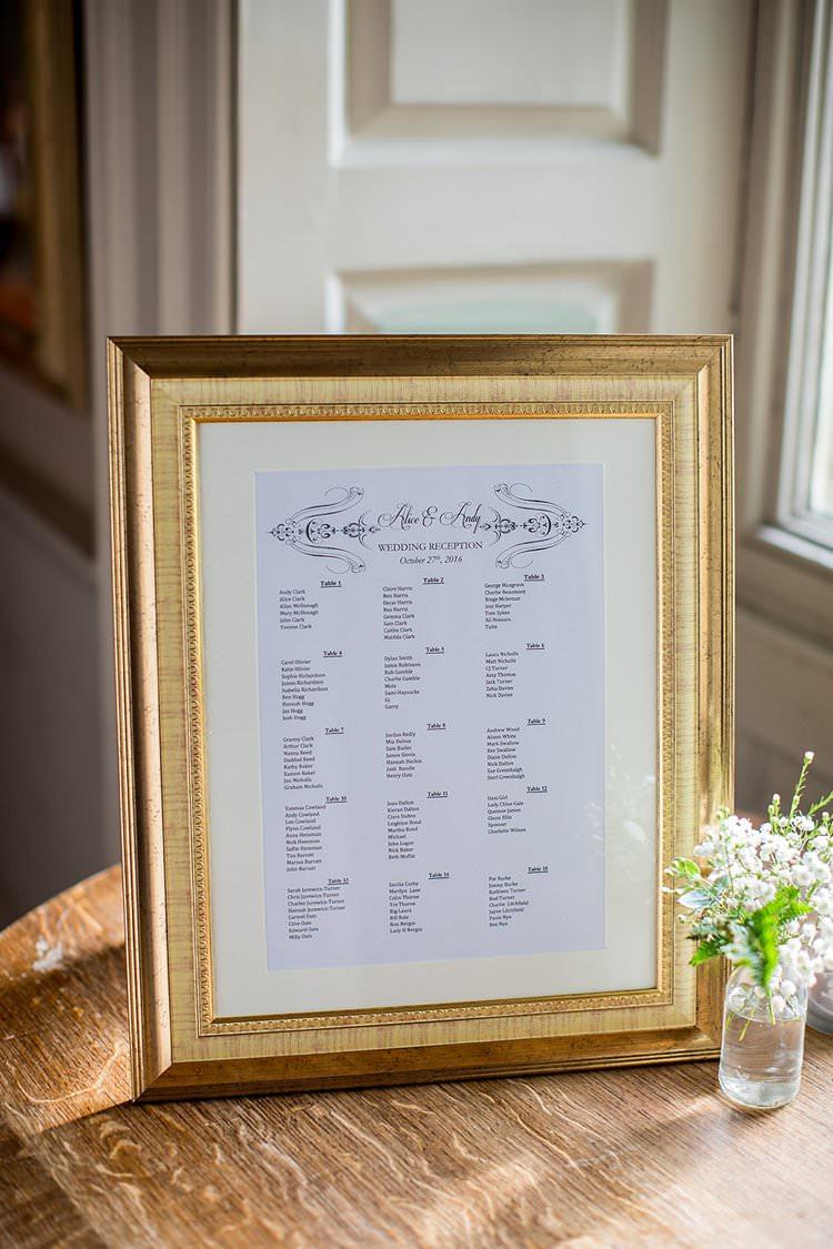 Gilt Gold Frame Seating Chart Plan Rustic Autumn Blush Pink Gold Wedding Narborough Hall Gardens Norfolk http://katherineashdown.co.uk/