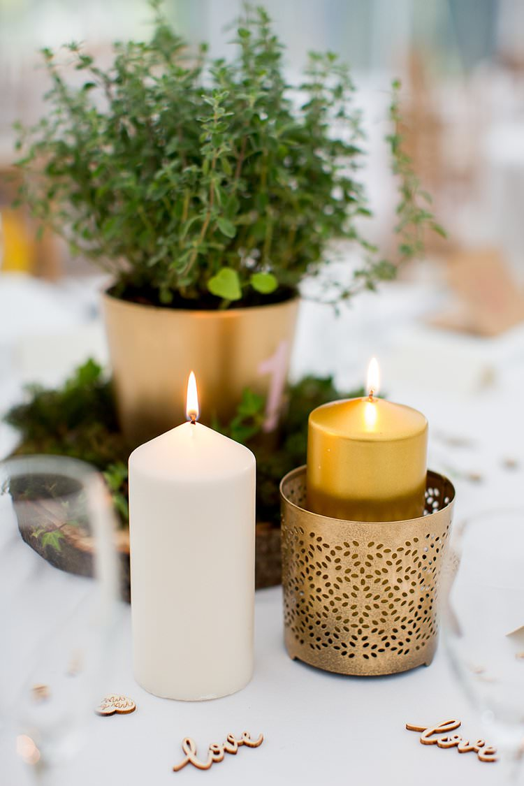 Candles Table Wooden Confetti Rustic Autumn Blush Pink Gold Wedding Narborough Hall Gardens Norfolk http://katherineashdown.co.uk/