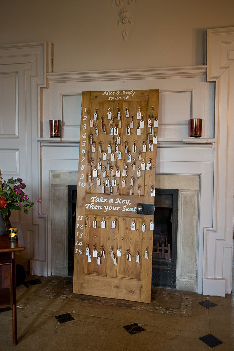Seating Plan Table Chart Door Keys Vintage Rustic Autumn Blush Pink Gold Wedding Narborough Hall Gardens Norfolk http://katherineashdown.co.uk/