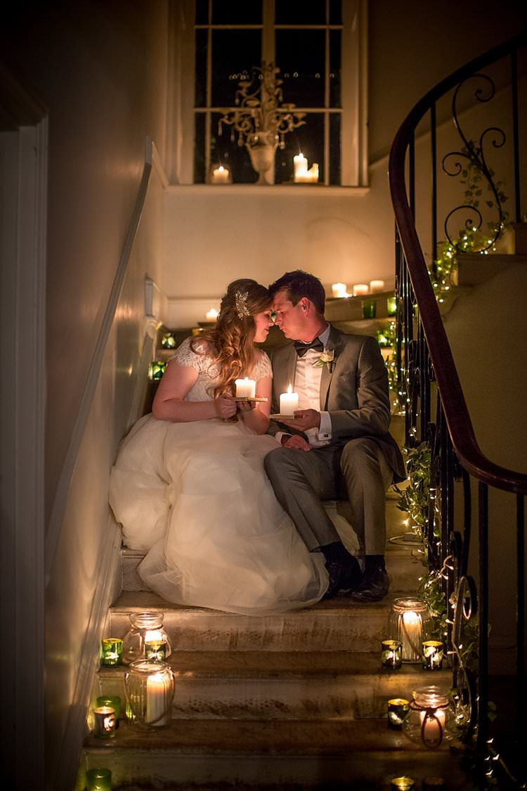 Candles Lights Staircase Rustic Autumn Blush Pink Gold Wedding Narborough Hall Gardens Norfolk http://katherineashdown.co.uk/