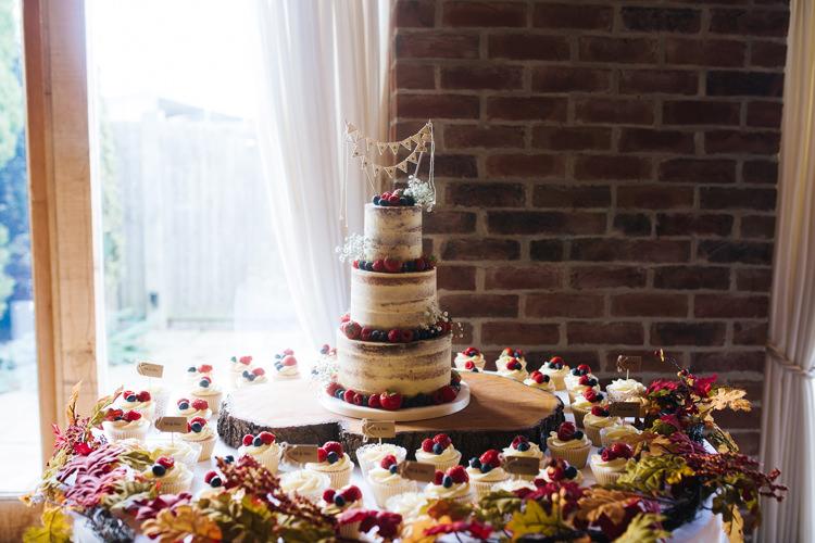 Cake Table Naked Cupcakes Autumn Packington Moor Wedding Staffordshire Farm Barn Burgundy http://kathrynedwardsphotography.com/
