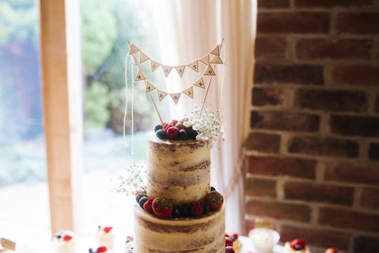 Bunting Cake Topper Autumn Packington Moor Wedding Staffordshire Farm Barn Burgundy http://kathrynedwardsphotography.com/