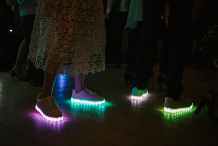 Light Up Shoes Trainers Alternative Rainbow Fun Loving Budget Wedding Hanger Farm Arts Centre Southampton https://www.nicolastreaderphotography.co.uk/