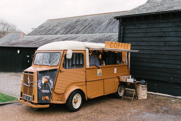 Coffee Van Food Truck Alternative Rainbow Fun Loving Budget Wedding Hanger Farm Arts Centre Southampton https://www.nicolastreaderphotography.co.uk/