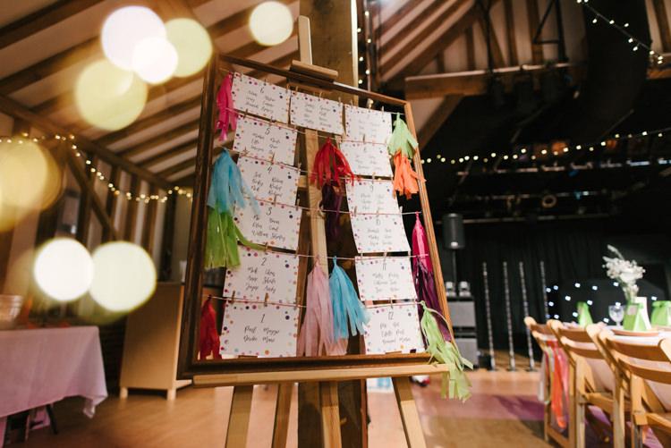 Tassels Seating Plan Table Chart Alternative Rainbow Fun Loving Budget Wedding Hanger Farm Arts Centre Southampton https://www.nicolastreaderphotography.co.uk/