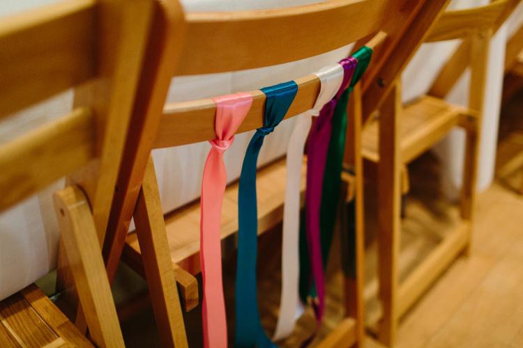 Ribbon Chair Decor Alternative Rainbow Fun Loving Budget Wedding Hanger Farm Arts Centre Southampton https://www.nicolastreaderphotography.co.uk/