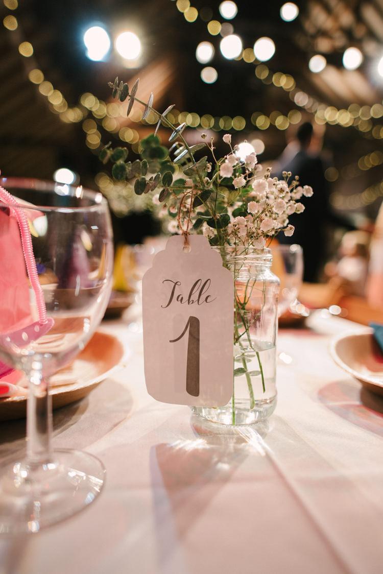 Jar Flowers Gyp Gypsophila Luggage Tag Table Number Alternative Rainbow Fun Loving Budget Wedding Hanger Farm Arts Centre Southampton https://www.nicolastreaderphotography.co.uk/