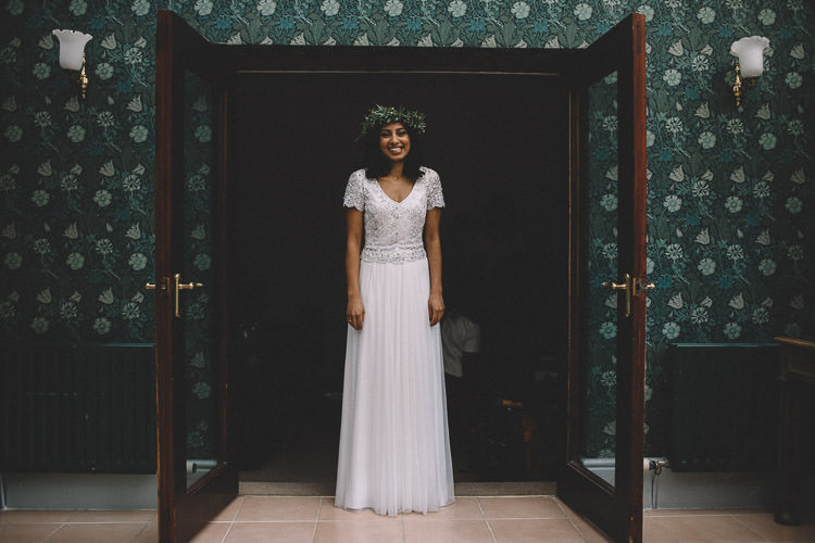 Dress Gown Bride Bridal Open Back Beaded Tulle Autumn Woodland Wedding Woodlands Lodge New Forest http://carrielaversphotography.co.uk/