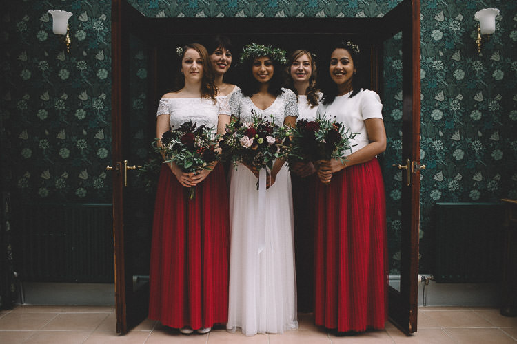 Bridesmaids Skirts Tops Red Dresses Autumn Woodland Wedding Woodlands Lodge New Forest http://carrielaversphotography.co.uk/