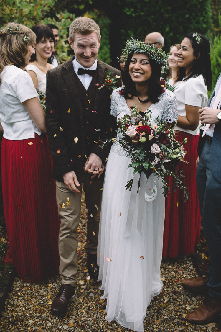 Groom Tweed Suit Chinos Bow Tie Autumn Woodland Wedding Woodlands Lodge New Forest http://carrielaversphotography.co.uk/
