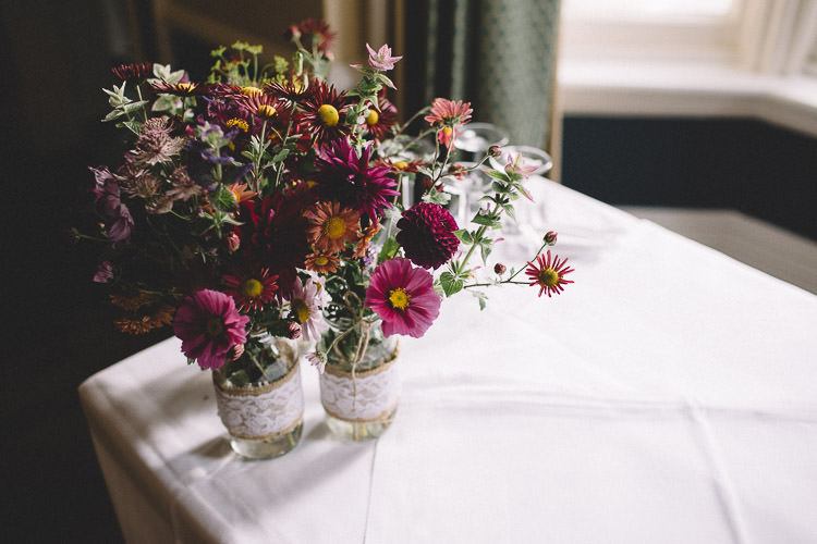 Jar Flowers Hessian Lace Autumn Woodland Wedding Woodlands Lodge New Forest http://carrielaversphotography.co.uk/