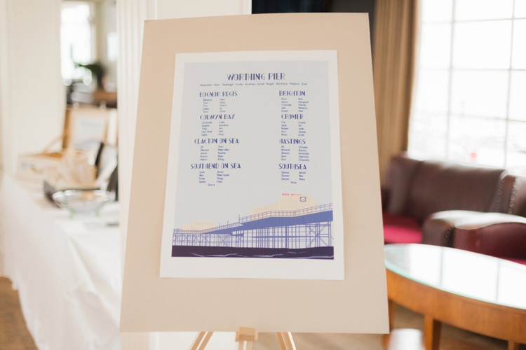 Seating Plan Table Chart Vintage 1930s Wedding Worthing Pier West Sussex https://clairemacintyre.com/